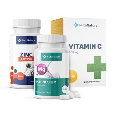 Kit per il sistema immunitario: Vitamina C + Zinco Aktiv + Magnesio Forte