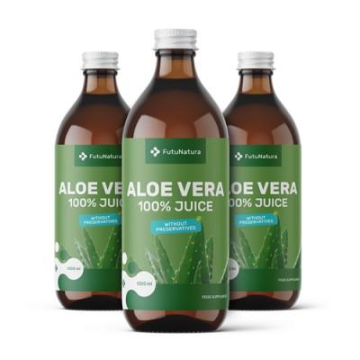 3x 100% succo di aloe vera